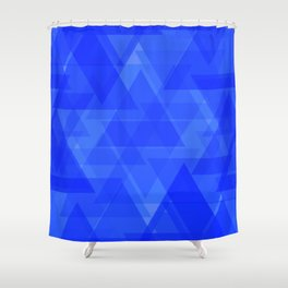 Gentle dark blue triangles in the intersection and overlay. Shower Curtain