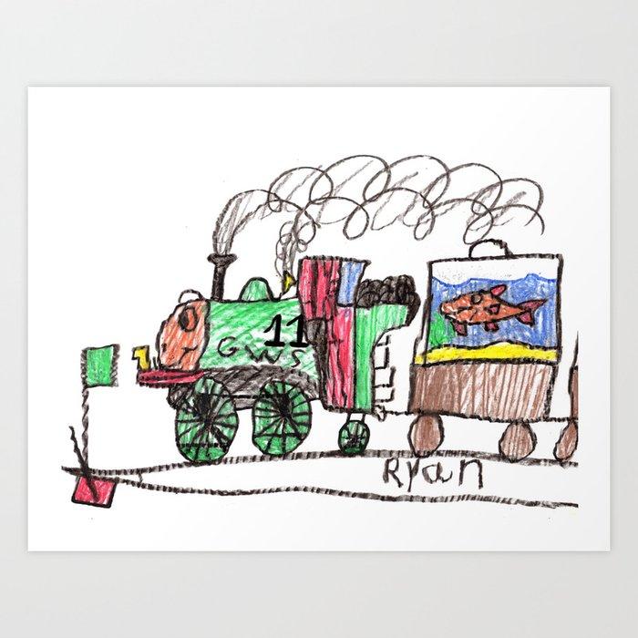 Oliver Pulls the Aqua-Cars Art Print