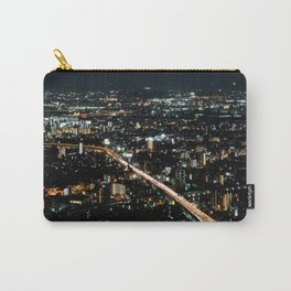 City View 'Night in Osaka, Japan' with Text Carry-All Pouch