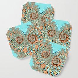 Owl Fractal Turquoise and Orange Coaster