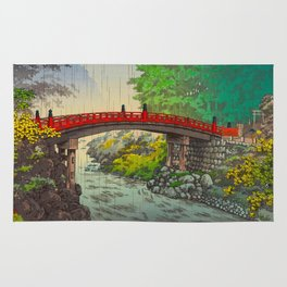 Vintage Japanese Woodblock Print Garden Red Bridge River Rapids Beautiful Green Forest Landscape Rug