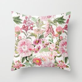 Vintage & Shabby Chic - Botanical Pink Springflowers Meadow Throw Pillow