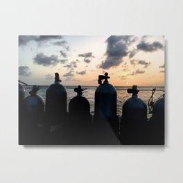 Scuba Sunset Metal Print