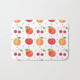 Summer orange red watercolor fruit polka dots pattern Bath Mat