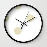 gold dots Wall Clocks featuring Gold Dots by Nicole Davis