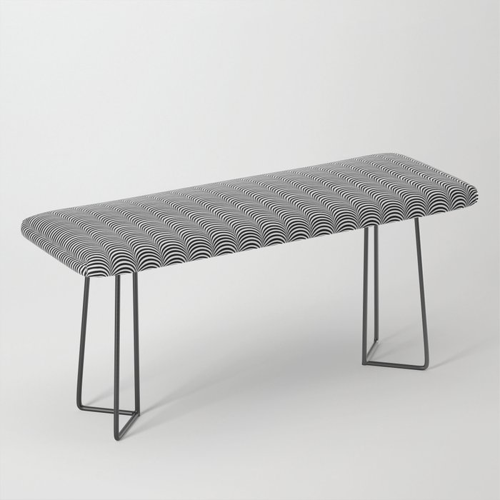 Black and White Scallop Line Pattern Digital Graphic Design Bench
