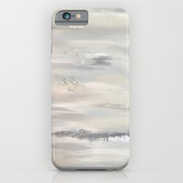 Neutral Driftwood Light Gray Abstract Beachy Painting iPhone Case
