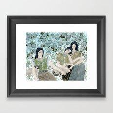 Girls With Pugs Among Roses Framed Art Print