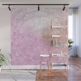 Pink and White Flower Mandala Wall Mural