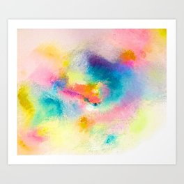 Vibrant Rainbow Watercolor Abstract Art Print