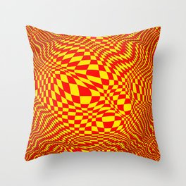 expanding checks, yellow red Throw Pillow