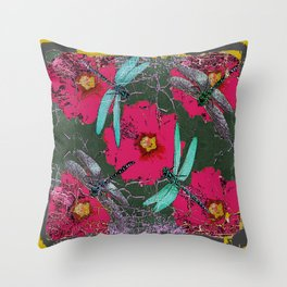 SHABBY CHIC BLUE DRAGONFLIES ON  FUCHSIA HOLLYHOCK FLOWERS Throw Pillow