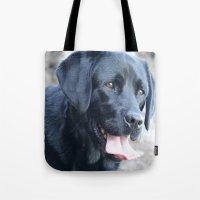 labrador Tote Bags featuring Black Labrador by MehrFarbeimLeben