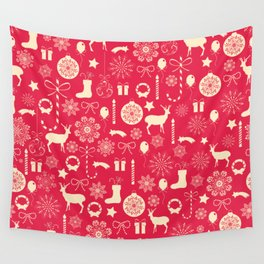 White Objects Christmas Pattern Wall Tapestry