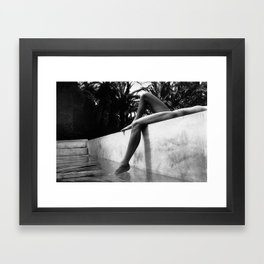 Dip your toes into the water, female form black and white photography - photographs Framed Art Print