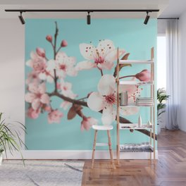 Baby Pink Spring Flowers Wall Mural