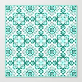 White turquoise ornament arabic Canvas Print