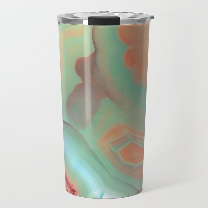Living Coral and Teal Agate Travel Mug