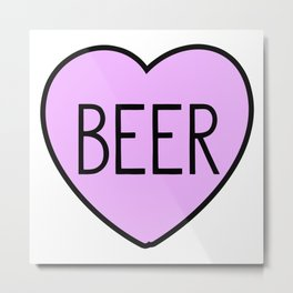 Beer Heart Metal Print