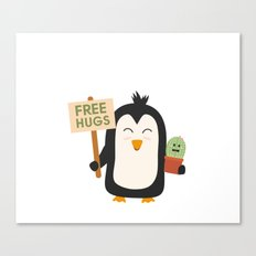 Penguin with Cactus   Canvas Print