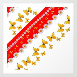 RED MODERN ART YELLOW BUTTERFLIES & WHITE DAISIES Art Print