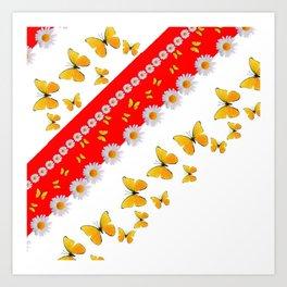RED MODERN ART YELLOW BUTTERFLIES & WHITE DAISIES Art Print