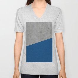 Concrete and Lapis Blue Color Unisex V-Neck