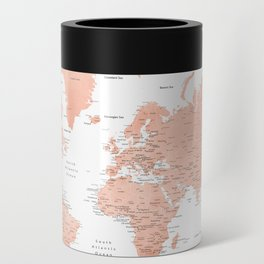 """Rose gold world map with cities, """"Hadi"""" Can Cooler"""