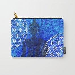 Blue Buddha Mandala Collage Mosaic Carry-All Pouch