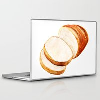 bread Laptop & iPad Skins featuring White bread by Nadezhda Shoshina