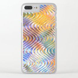Artistic Stylish Colorful Faux Embossed 3D Waves Pattern Clear iPhone Case
