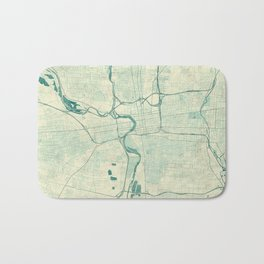 Columbus Map Blue Vintage Bath Mat