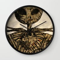 jack skellington Wall Clocks featuring jack skellington by TwistedPalace