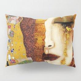 Gustav Klimt: The Kiss & Freya's Tears golden-red flower anemone college portrait painting Pillow Sham