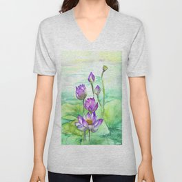 Peaceful Lily Pond Unisex V-Neck