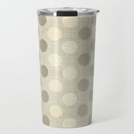 """""""Nude Burlap Texture and Polka Dots"""" Travel Mug"""
