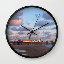 Blackpool Central Pier Sunset Wall Clock