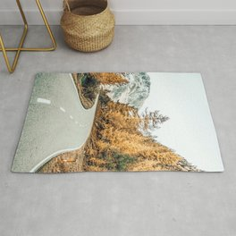 Snow + Golden Pine Photography Landscape Wall Decor, Scenic Nature Rug