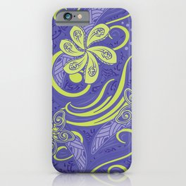Polynesian Kiwi Lime Tropcal Floral iPhone Case