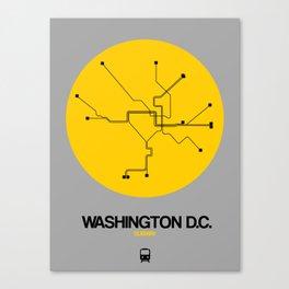 Washington D.C. Yellow Subway Map Canvas Print