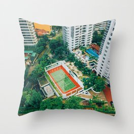 Tennis Court City View (Color) Throw Pillow