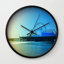 Santa Monica Pier Rainbow Colors Wall Clock