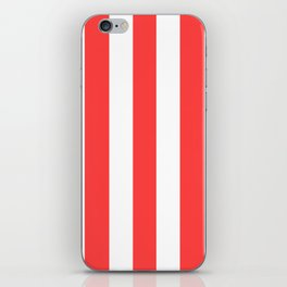 Coral red - solid color - white vertical lines pattern iPhone Skin