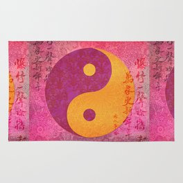Yin and yang pink Watercolor Collage with Calligraphy Rug