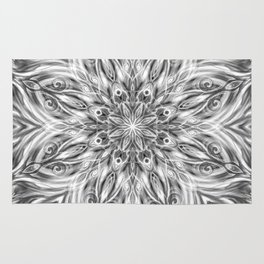Gray Center Swirl Mandala Rug