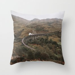 Glenfinnan viaduct - old train, scotland, glencoe, highlands, nature, landscape Throw Pillow