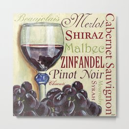 Red Wine Text Metal Print