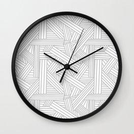 Sketchy Abstract (Gray & White Pattern) Wall Clock