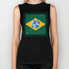 Brazil flag like stamp in grunge style Biker Tank