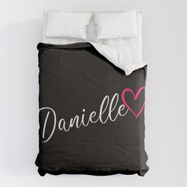 Danielle Name Calligraphy Heart Comforters